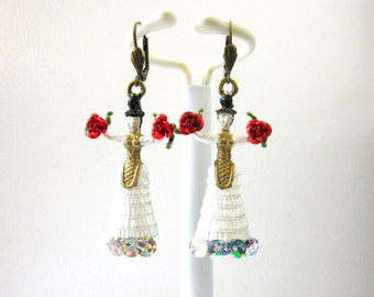 Frida Kahlo Earrings White Dress Day of the Dead Jewelry Red Roses