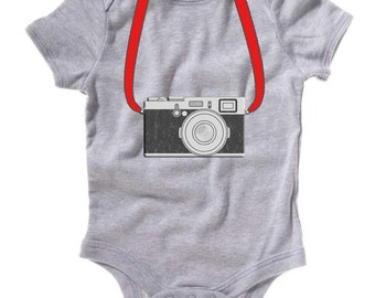 Personalized Custom Photographer Camera Straps One Piece for Boys or Girls T shirt Name Tee Red or many other colors Holiday Party Event
