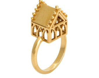 hoyz sanctuary 18 carat gold house engagement ring inspired by antique jewish wedding - Jewish Wedding Rings