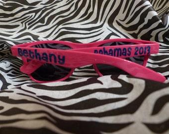 Personalized Sunglasses - Bride, Bridesmaid, Groom, Groomsmen, Vacations, Parties, sports teams, graduation, prom