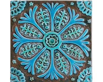 Bathroom wall art // Ceramic tiles // Bathroom decor // Bathroom art tile // Suzani decor // Suzani #3 // Turquoise