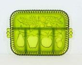 Vintage Green Indiana Glass Fruit Motif Divided Relish Dish