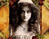 """Gypsy - 5 x 7"""" Art Print - Romantic Decor - Bohemian Beauty - Vintage Postcard - Altered Art"""