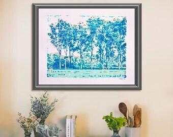 Poplar Alley Original Serigraph Hand Printed Screen Print Art Landscape