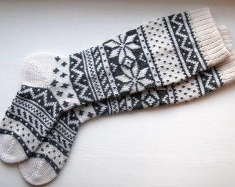 Grey white wool socks CUSTOM MADE Scandinavian pattern rustic spring fall winter knit knee-high
