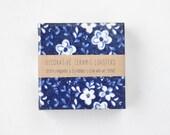 White Flowers on Dark Blue Denim Midnight Blue Floral Tile Coasters Spring Summer, set of 4