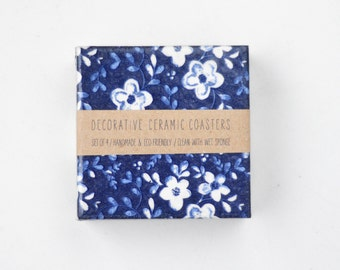 White Flowers on Dark Blue Denim Midnight Blue Floral Tile Coasters Spring Summer, set of 4