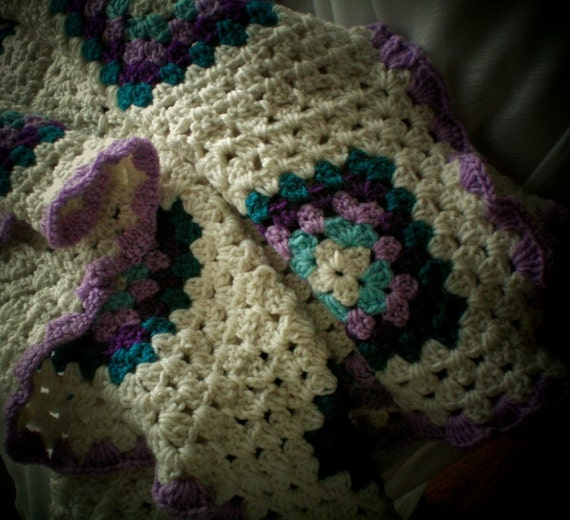 Crib Blanket / Toddler Blanket Granny Square Crocheted  Afghan Creamy White Teal Orchid Crochet Blanket Baby Girl Baby Boy Gender Neutral