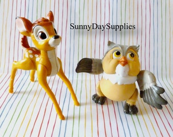 Vintage McDonalds Bambi Toys, Bambi Characters, Happy Meal Toys, BAMBI Disney Characters, Bambi and Friend Owl, 1988,  2 in lot, Small toys
