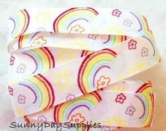 Rainbow Ribbon, White Grosgrain with Rainbows, Sunshine, Flowers, 5 YARDS,  7/8  inch wides Rainbow Ribbon, Rainbows, CLEARANCE Ribbon