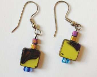 Chartreuse and brown square Czech window-bead short dangly earrings