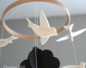 100% Merino Wool Felt Birds Mobile - Eco-Friendly - Rich, Lightfast Colors - Heirloom Quality - White Birds with Dark Cloud - Modern Mobile