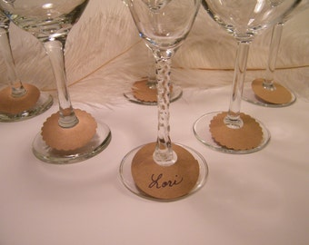 Wine Glass Charms, BULK 100 DIY Wine Glass Labels, Eco Friendly, Kraft Natural, Disposable, Blank