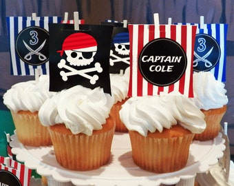 Personalized Pirate Sail Cupcake Toppers Printable - Yo Ho Ho Collection