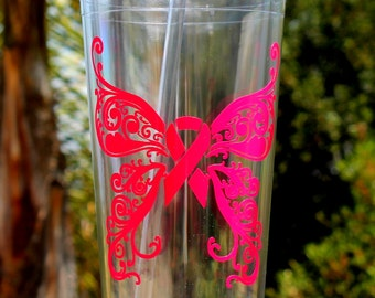 Breast Cancer Awareness Butterfly Tumbler