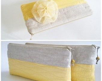Bright Yellow Wedding Clutch, Hawaii Bridal Clutch, Yellow Bridesmaids Bag, Adorned Wedding Purse