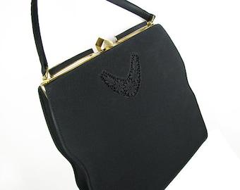 Vintage Black Purse, Lace Wedding Purse / Vintage Black Grosgrain Hand Bag Bridal, Johansen - Sac de Soirée Noir.