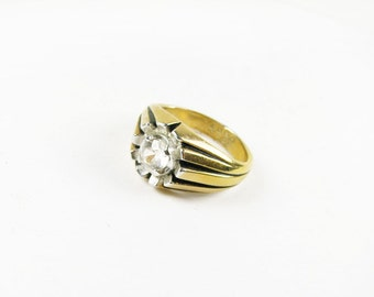 Vintage Ring 10K Gold Filled, Espo, Size 10.5 / Vintage Espo Ring with Clear Rhinestone - Bague de Vert.