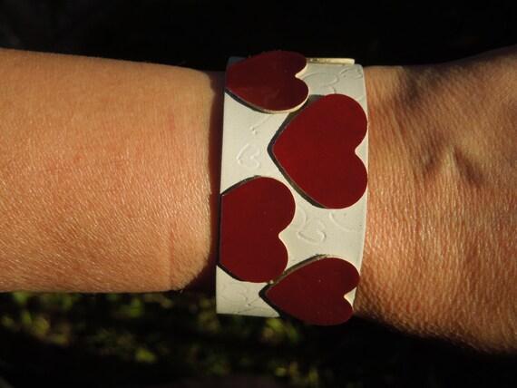 Hearts bracelet, valentine's bracelet, leather bracelet, leather cuff, heart cuff, hearts cuff, leather bangle, black cuff, black bracelet