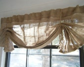 "Burlap Window Valance, 42"" / 108"" W X 14""L , 'The LIL HEMINGWAY with Choice of Natural Ties by Jackie Dix"