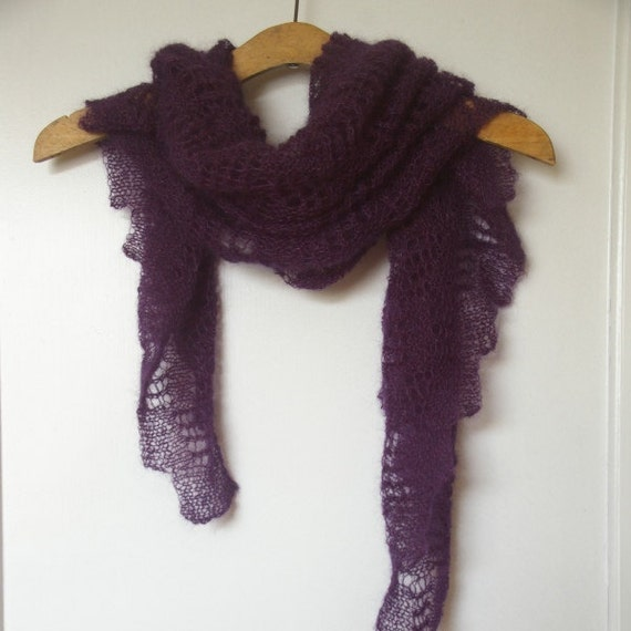 Knitting Scarf Patterns Using Mohair : Knit mohair shawl scarf lace purple. Woman accessory. All year