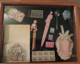 Vintage Shadow Box With Collectables / Baby Doll / Fuller Brush Stirrer / Ration Stamps