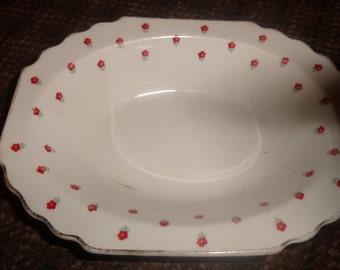 vintage w s george china blushing rose oval serving bowl