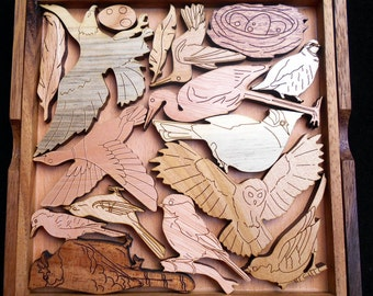 "Bird Lovers Puzzle – Can you fit all the birds into the ""aviary""?  Wood Brain Teaser"