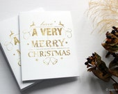 Very Merry Christmas Gold Card - Single - Illustrated Unique Christmas Card / Cute Stationery / Xmas