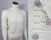Vintage 70s 80s - Ivory Cream - Open Knit - Pastel Embroidered Rose Buds - Pearl Button Up - Collar - Sweater