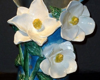 Magnolia Fantasy Vase Hand Built