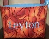 Fabric Easter Basket – Orange Basketballs - Personalization Included - Great Storage Bin - You Choose Inside Fabric Color