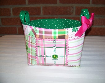 Fabric Easter Basket – John Deere Pink and Green Plaid - Personalization Included - Great Storage Bin