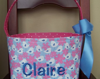 Fabric Easter Basket - White and Pink Cute Birdies and Flowers on Periwinkle - Personalization Included - Great Storage Bin