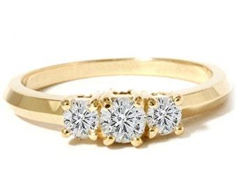 Diamond .50CT Three Stone Ring 14K Yellow Gold