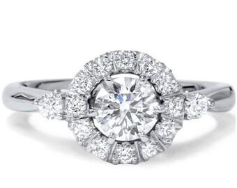1.15CT Round Diamond Halo Engagement Ring And Matching Wedding Band Princess Cut Blue Sapphire 14K White Gold Size 4-9