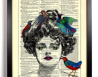 Queen Of Birds, Home, Kitchen, Nursery, Bath, Office Decor, Wedding Gift, Eco Friendly Book Art, Vintage Dictionary Print 8 x 10 in.