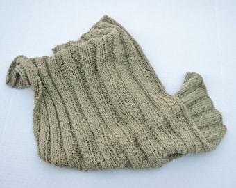 Organic cotton baby blanket khaki olive hand knit