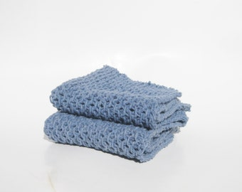 Cotton knit dishcloth blue denim