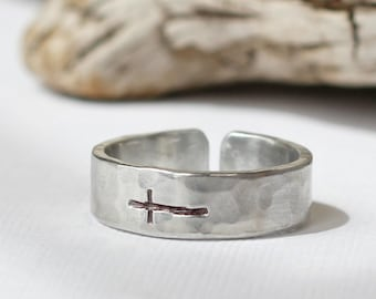Sideways Cross Ring- Silver Hammered Band Ring