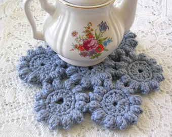 Crochet Hot Pad - Blue Crochet Trivet - Crochet Potholder - Crochet Mat - Cottage Decor Hotpad