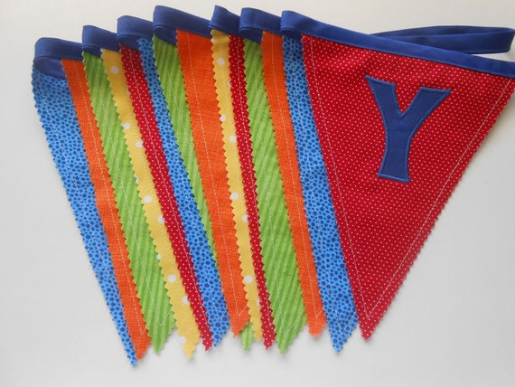 Happy Birthday Banner | Fabric Birthday Banner in Bright Blue, Red, Orange, Green, Yellow