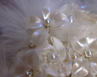 White Feathered Bridal Bouquet