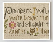 Promise Me : Lizzie Kate cross stitch patterns back to school dorm room graduation Winnie The Pooh sayings baby counted hand embroidery