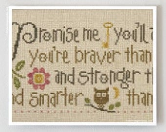 Promise Me by Lizzie Kate cross stitch patterns back to school dorm graduation Winnie The Pooh sayings baby embroidery