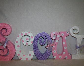 Girl nursery letters, Nursery letters, Nursery decor, 15.00 per letter, Wooden letters, Baby girl nursery, Hanging letters, Wall letters
