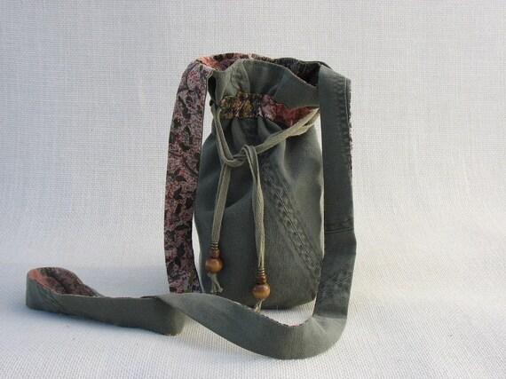 Army Green Messenger Bag Drawstring Purse Olive Green Linen OOAK