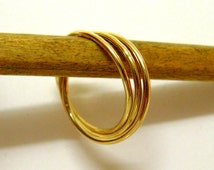 Fine Jewelry - Thin Intertwined Rolling Ring  - 14K Gold Trinity Promise Ring -   Handmade By Amallias