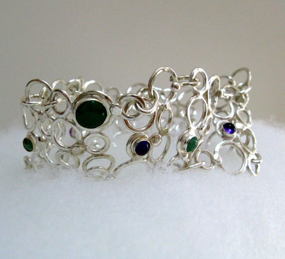 Fine Jewelry // Sterling Silver Bubble Bracelet with Amethyst and Aventurine // Handmade Jewelry