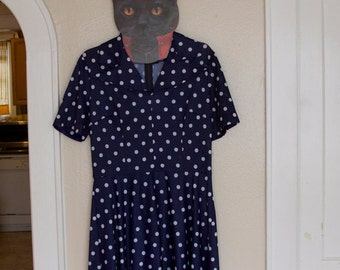 Blue and White polka dot vintage 50s dress